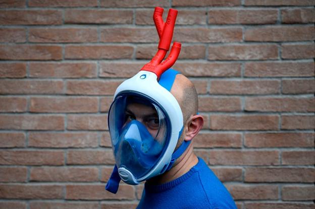 Mario Milanesio purtând masca. MARCO BERTORELLO / Getty Images